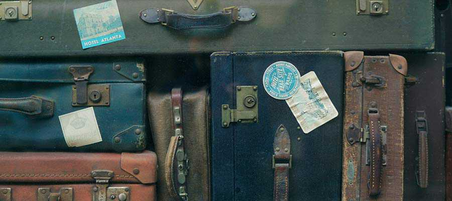 A collection of suitcases.