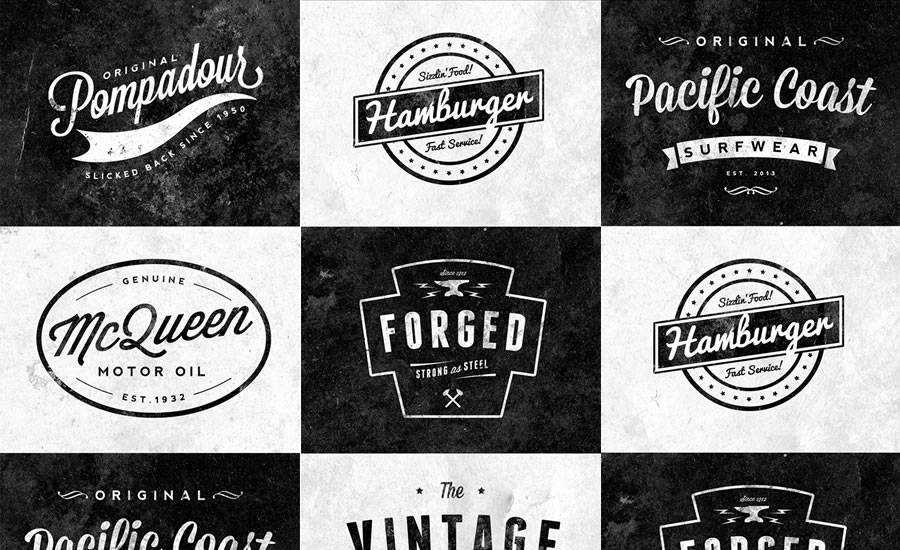Free Customizable Retro Vintage Logos PSD Format
