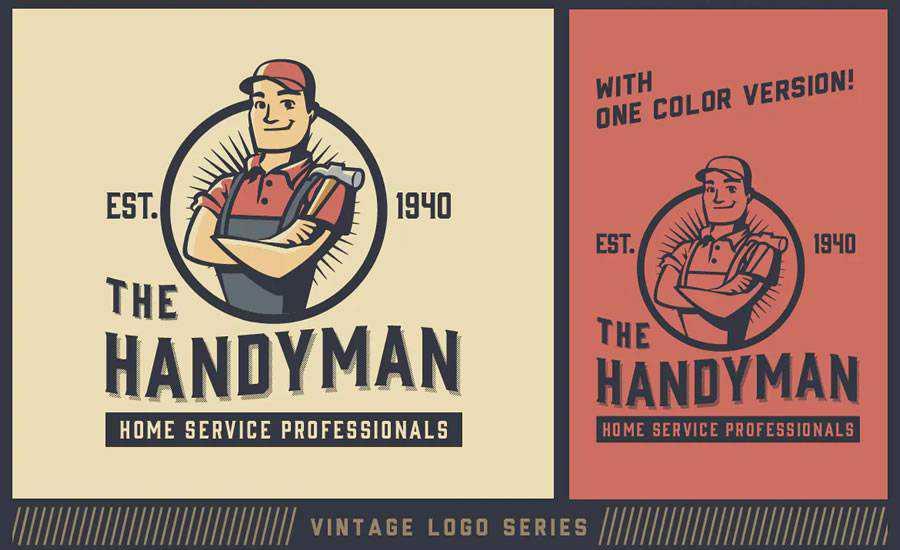 Vintage Handyman Mascot Logo Template AI EPS Formats