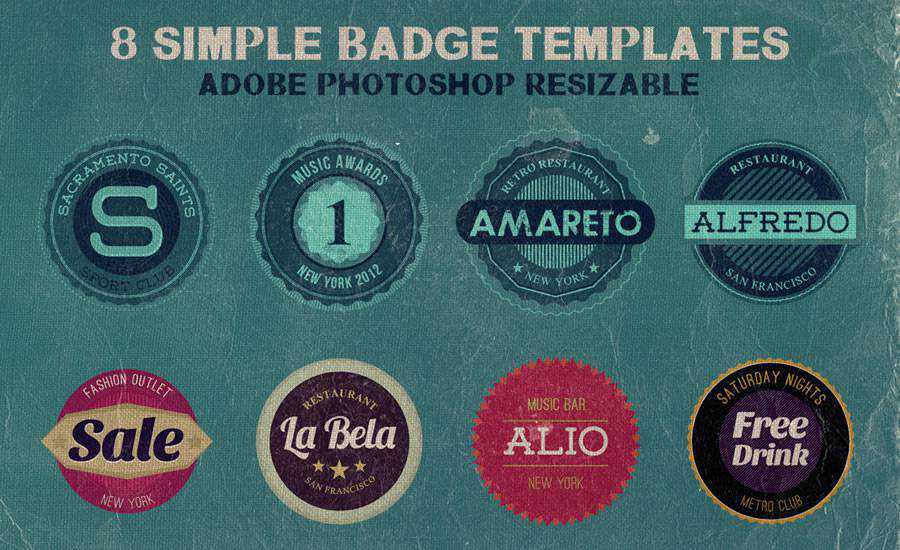 Free Simple Badge Templates PSD Format
