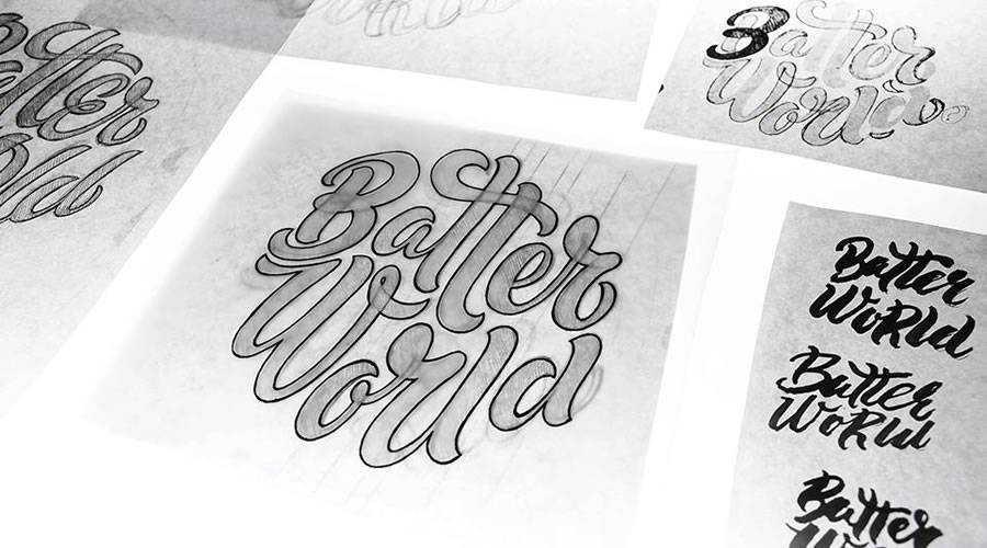 Batter World logo design sketch paper pencil pen inspiration