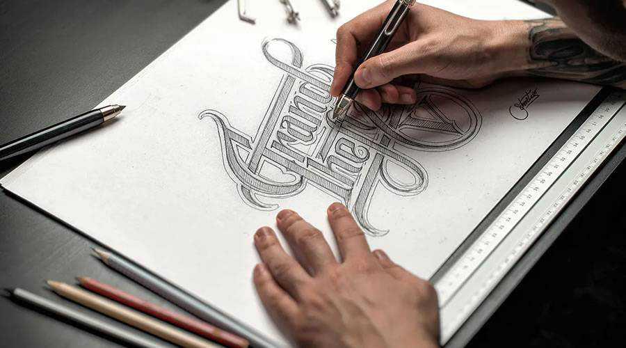 Hand Drawn Mockup Set logo design sketch paper pencil pen inspiration
