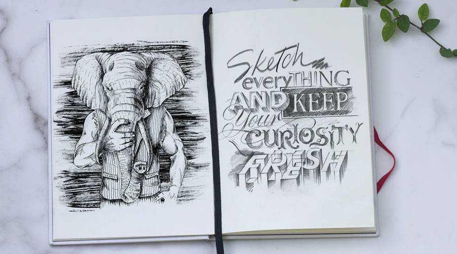 Sketch Book Mockup paper pencil pen inspiration