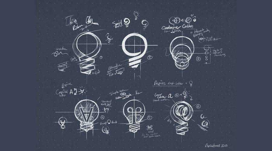 AspireBoard logo design sketch paper pencil pen inspiration