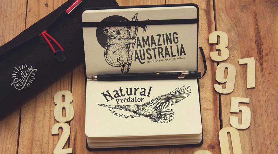 Pocket Notebook Writing logo design sketch paper pencil pen inspiration