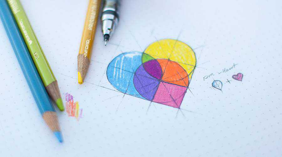 Map Pin Heart logo design sketch paper pencil pen inspiration