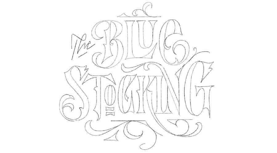 The Blue Stocking logo design sketch paper pencil pen inspiration