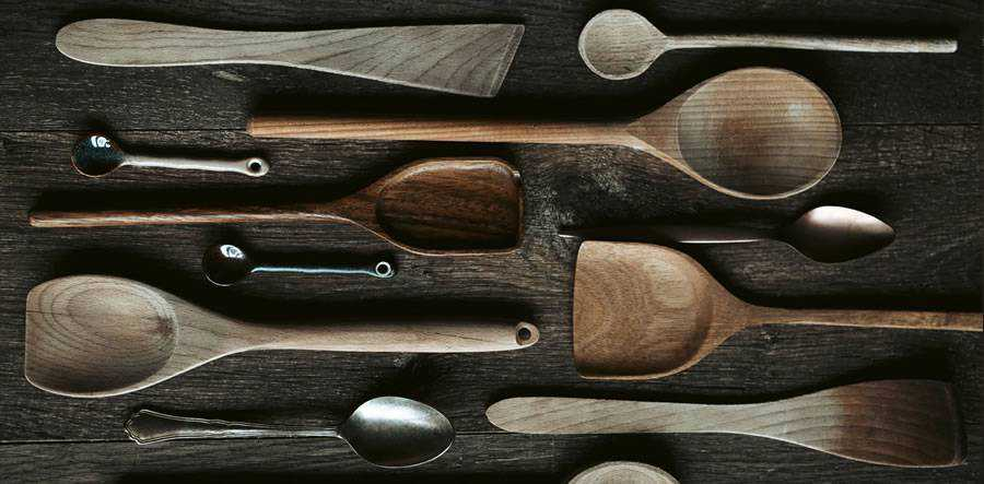 selection of wooden spoon design tools kitchen