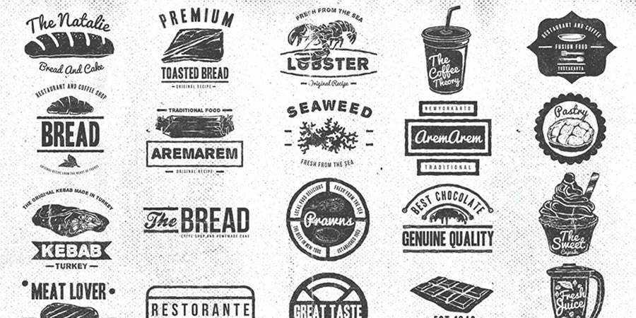 Vintage Food & Restaurant Badges Logo Templates