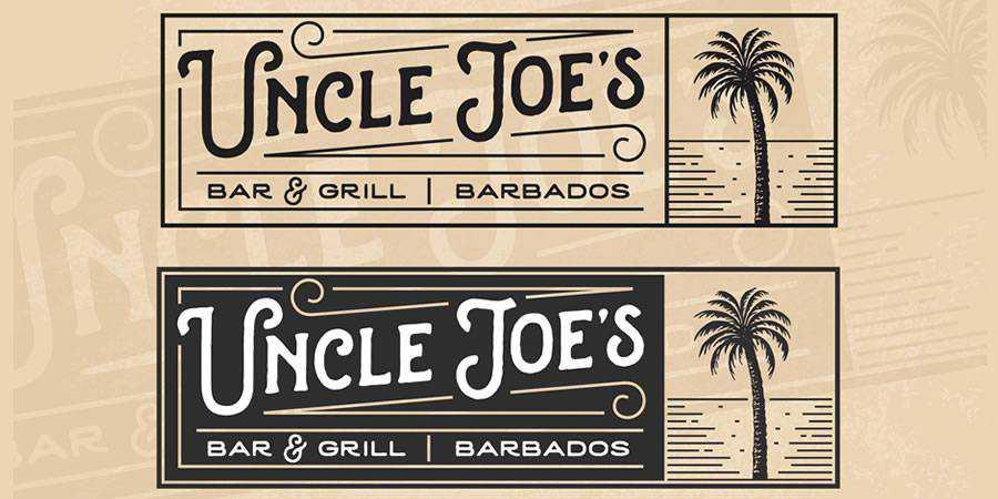 Uncle Joe Bar Grill logo design restuarant food bar inspiration
