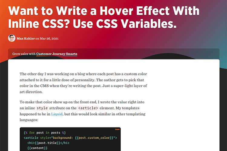 Example from Want to Write a Hover Effect With Inline CSS? Use CSS Variables.