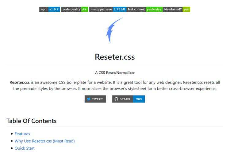 Example from Reseter.css