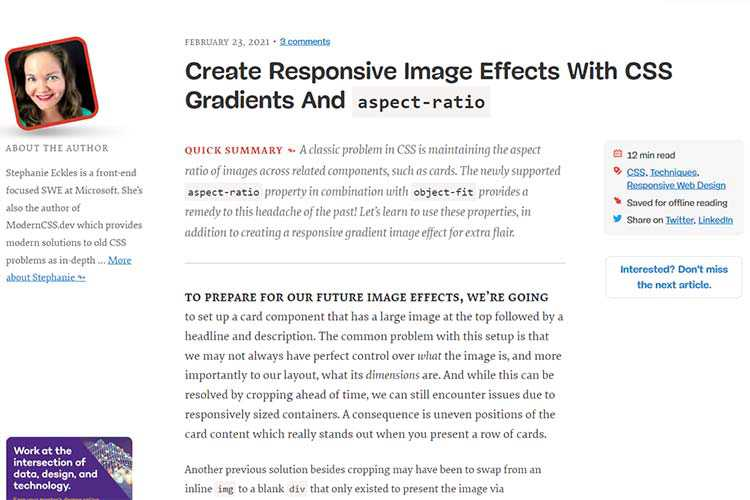 Example from Create Responsive Image Effects With CSS Gradients And aspect-ratio