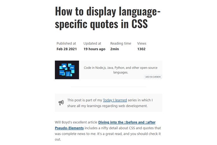 Example from How to display language-specific quotes in CSS