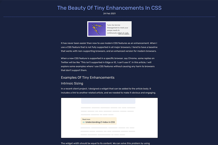 Example from The Beauty Of Tiny Enhancements In CSS