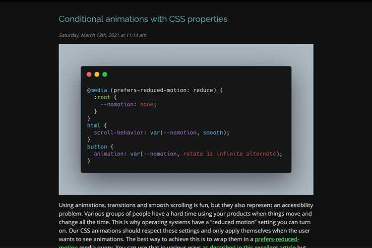 Example from Conditional animations with CSS properties
