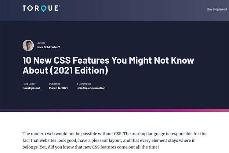 Example from 10 New CSS Features You Might Not Know About (2021 Edition)