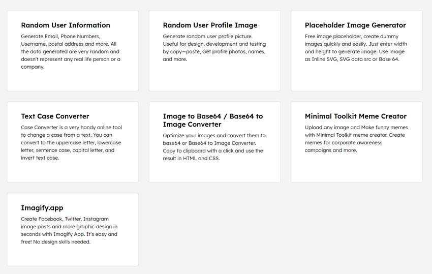collection of free tools for generating random user data, placeholder and image converters, and much more
