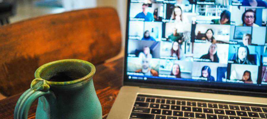 zoom call freelance design coffee