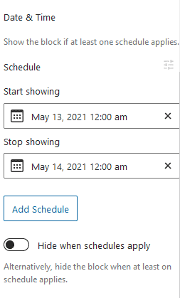 Date and Time settings.