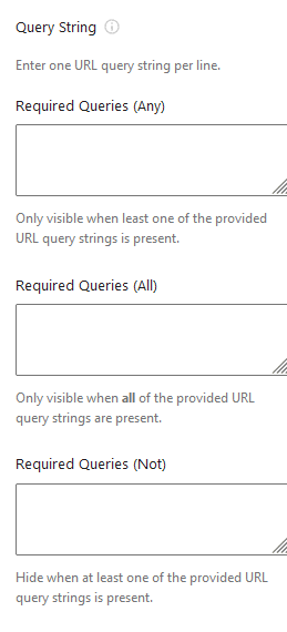 Query String settings.