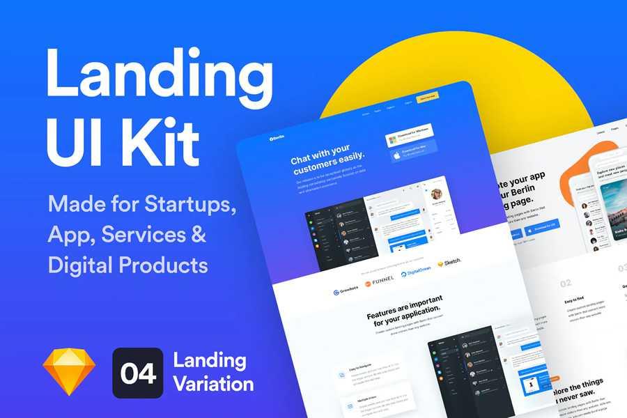 UI Kits Landing Page web design layout adobe photoshop template free psd format