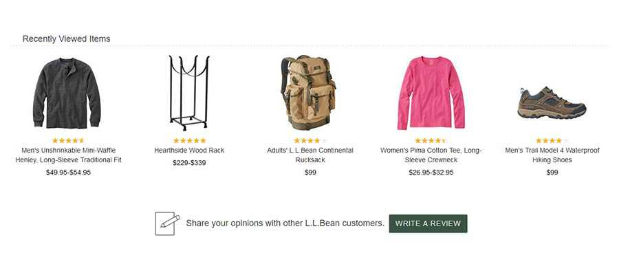 Recently viewed products list from LL Bean