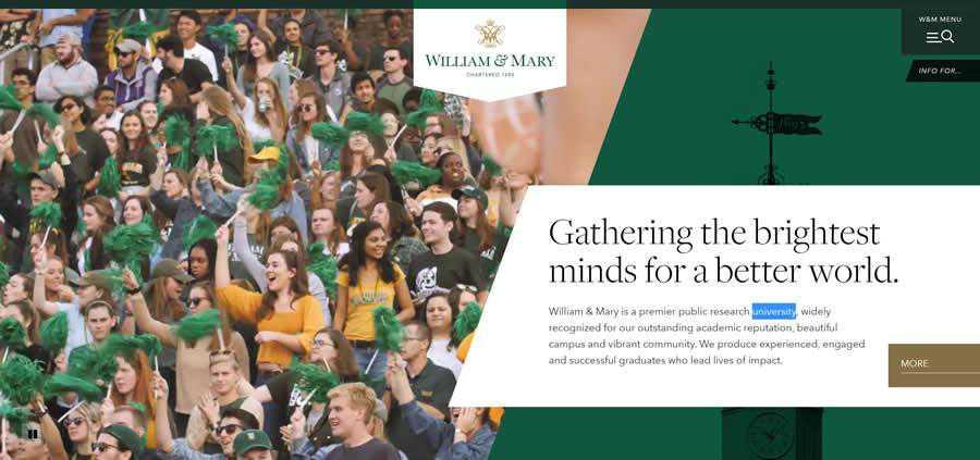 William & Mary University College Web Design Inspiration Clean