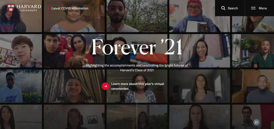 Harvard University College Web Design Inspiration Clean
