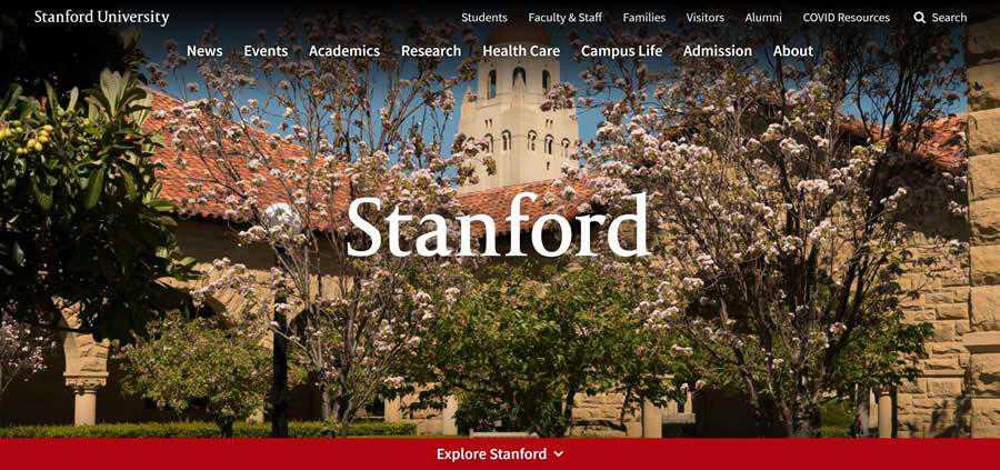 Stanford University College Web Design Inspiration Clean