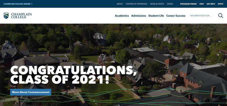 Champlain University College Web Design Inspiration Clean