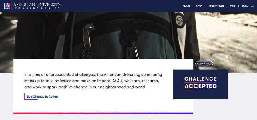 American University College Web Design Inspiration Clean