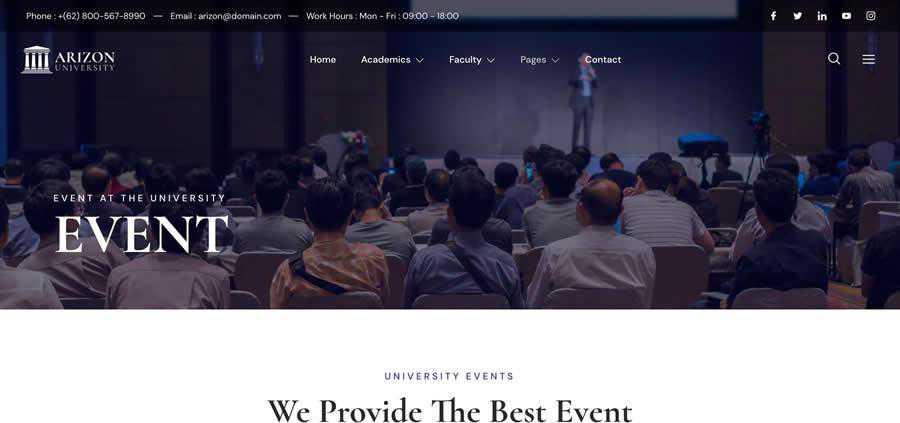 Arizon WordPress Theme Elementor Template Kit University College Web Design