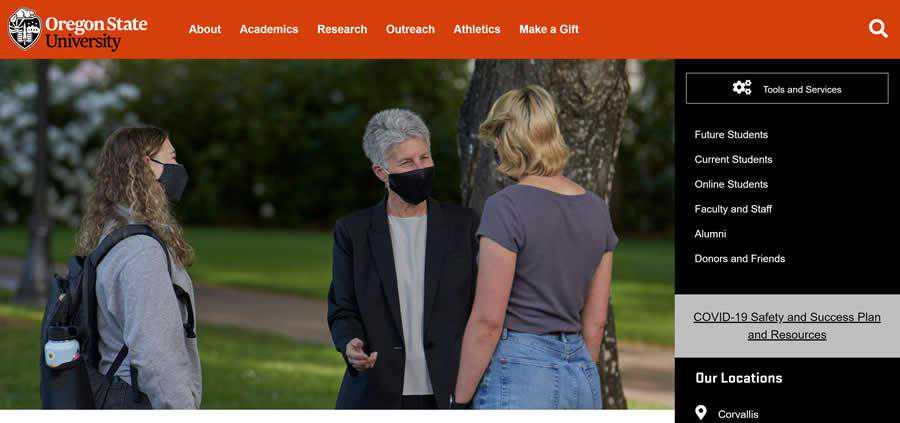 Oregon State University College Web Design Inspiration Clean