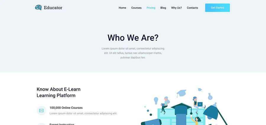 Educator WordPress Theme Courses Template Kit University College Web Design