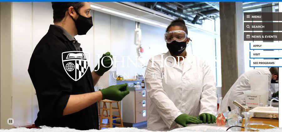 Johns Hopkins University College Web Design Inspiration Clean