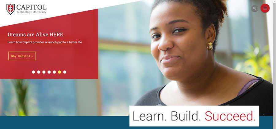 Capitol Technology University College Web Design Inspiration Clean