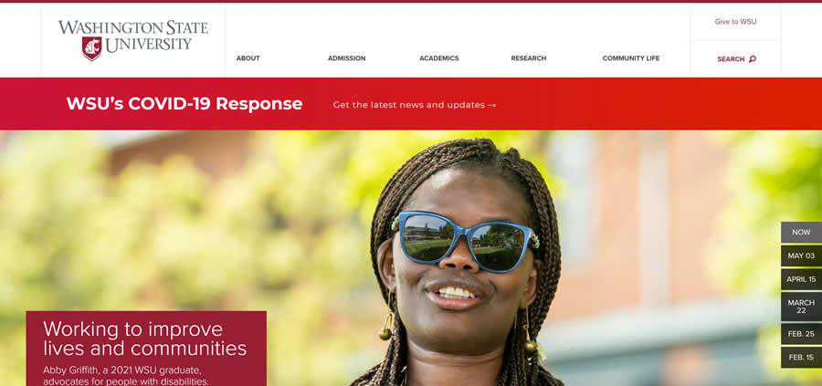 Washington State University College Web Design Inspiration Clean