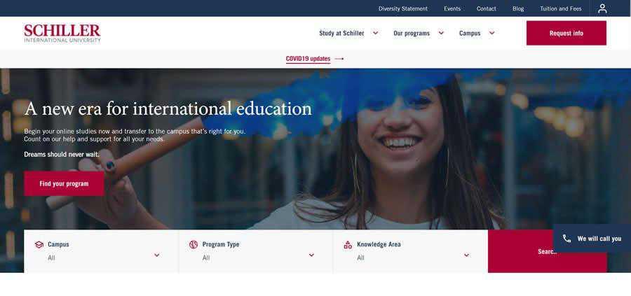 Schiller International University College Web Design Inspiration Clean