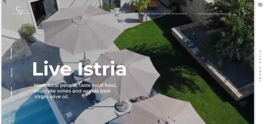 Villa Covri Sticky Vertical Navigation Web Design Inspiration