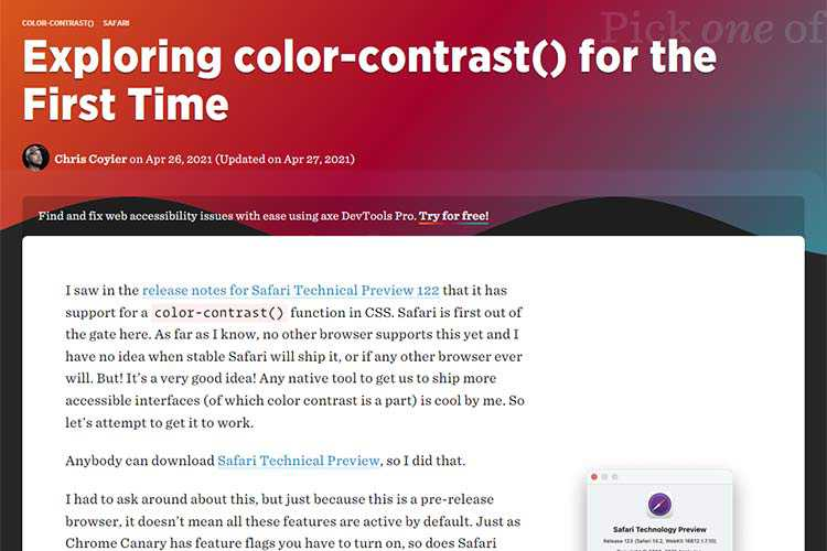 Example from Exploring color-contrast() for the First Time