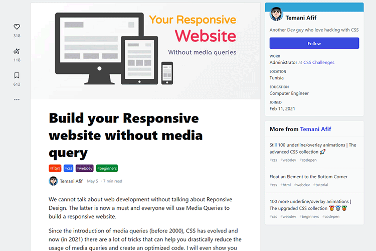 Example from Build your Responsive website without media query