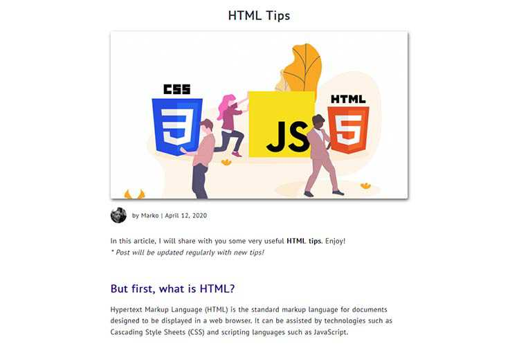 Example from HTML Tips