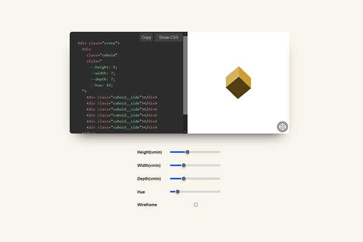Example from CSS Cuboid Generator w/ React & Prism