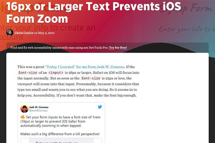 Example from 16px or Larger Text Prevents iOS Form Zoom