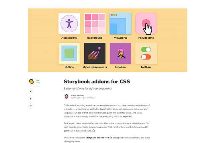 Example from Storybook addons for CSS