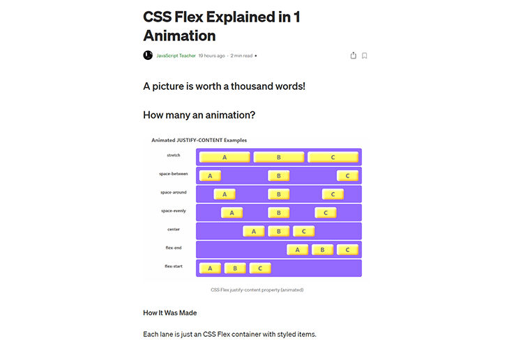 Example from CSS Flex Explained in 1 Animation