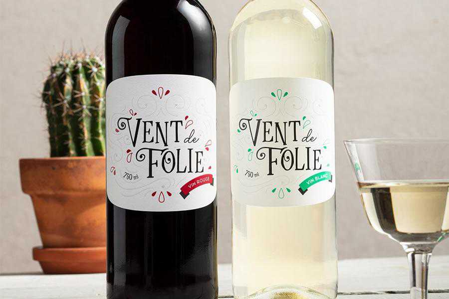 Vent de Folie wine label design inspiration