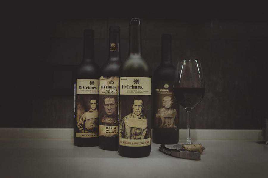 19 Crimes Wine Bottle label design inspiration