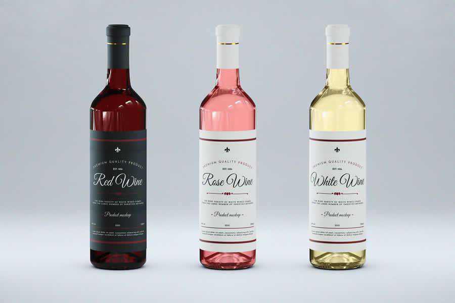 Wine Bottles Mock-Up Templates label design inspiration